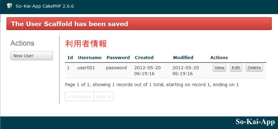 Scaffoldが作成した新規登録画面で登録した後の画面 - パスワードが丸見え