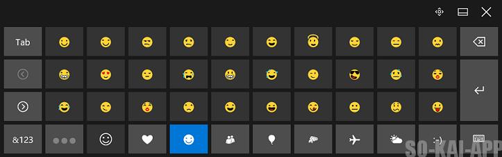 Windows10 のタッチキーボード(絵文字)