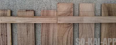 [すのこDIY] 棚を乗せる木に合わせて板をカットします。